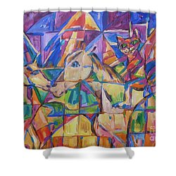 Shower Curtain featuring the painting Rasca On Horsey At Ucrane Pyramids by Dianne  Connolly