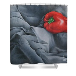 Shower Curtain featuring the painting Rather Red by Pamela Clements
