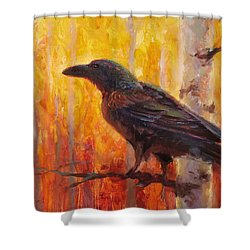Raven Glow Autumn Forest Of Golden Leaves Shower Curtain