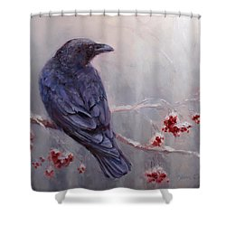 Raven In The Stillness - Black Bird Or Crow Resting In Winter Forest Shower Curtain