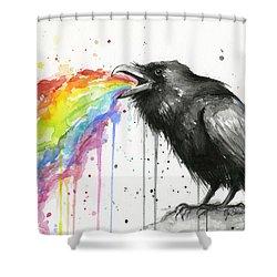 Raven Tastes The Rainbow Shower Curtain by Olga Shvartsur
