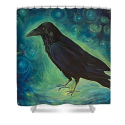 Shower Curtain featuring the painting Space Raven by Yulia Kazansky