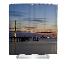 Ravenel Bridge Nightfall Shower Curtain by Dale Powell