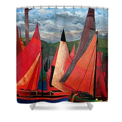 Shower Curtain featuring the painting Ravenna Regatta by Tracey Harrington-Simpson