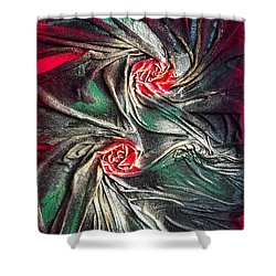 Raw Red Roses Framed Shower Curtain