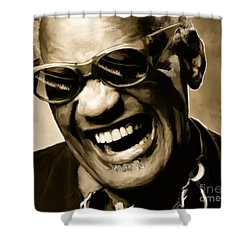 Ray Charles - Portrait Shower Curtain by Paul Tagliamonte