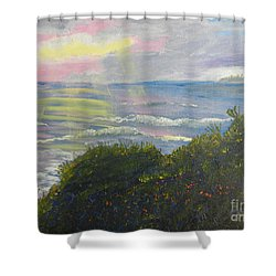 Rays Of Light At Burliegh Heads Shower Curtain by Pamela  Meredith