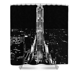 Rca Building At Night In Nyc Shower Curtain by Underwood Archives