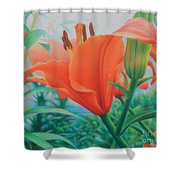 Shower Curtain featuring the painting Reach For The Skies by Pamela Clements