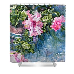 Reaching For Pretty Pink Shower Curtain