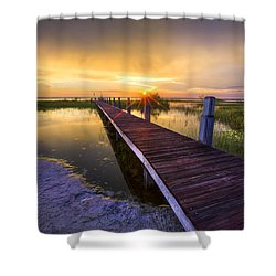 Reaching Into Sunset Shower Curtain by Debra and Dave Vanderlaan