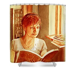 Shower Curtain featuring the painting Reading A Book Vintage Style by Irina Sztukowski