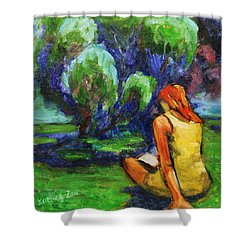 Shower Curtain featuring the painting Reading In A Park by Xueling Zou