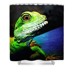 Ready To Leap - Lizard Art By Sharon Cummings Shower Curtain by Sharon Cummings