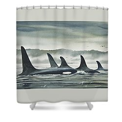Realm Of The Orca Shower Curtain by James Williamson