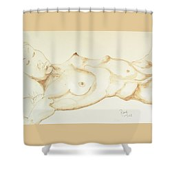 Shower Curtain featuring the drawing Reclining Nude In Walnut Ink by Rand Swift