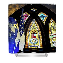 Recollection Union Soldier Stained Glass Window Digital Art Shower Curtain by Thomas Woolworth