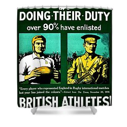 Recruiting Poster - Britain - Rugby Shower Curtain by Benjamin Yeager