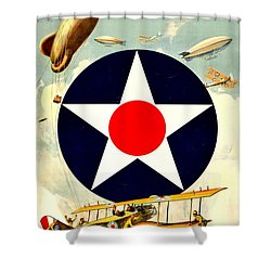 Recruiting Poster - Ww1 - Air Service Shower Curtain by Benjamin Yeager