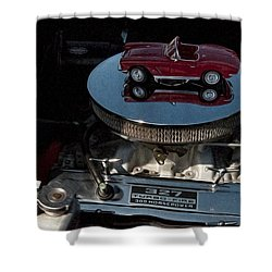 Red 1962 Chevrolet Corvette - Engine 327 - 300 Shower Curtain by Liane Wright