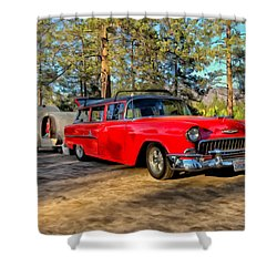 Red '55 Chevy Wagon Shower Curtain by Michael Pickett