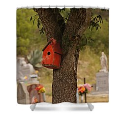 Red Abode Shower Curtain