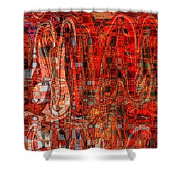 Red Abstract Panel Shower Curtain by Carol Groenen