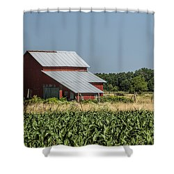 Red Amish Barn And Corn Fields Shower Curtain by Kathy Clark