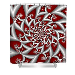 Red An Gray Shower Curtain