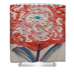 Red And Baby Blue Shower Curtain