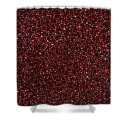 Shower Curtain featuring the digital art Red And Black Circles by Janice Dunbar