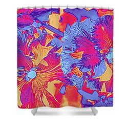 Red And Blue Pansies Pop Art Shower Curtain