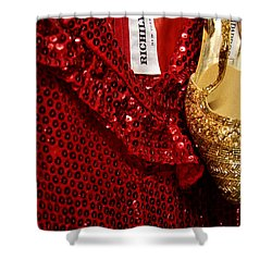 Red And Gold Holiday Shower Curtain by Toni Hopper