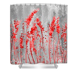 Red And Gray Art Shower Curtain