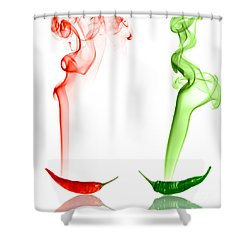 Red And Green Chili Smoke Photography Shower Curtain