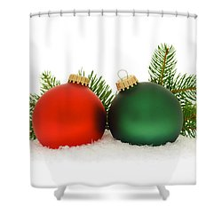 Red And Green Christmas Baubles Shower Curtain by Elena Elisseeva