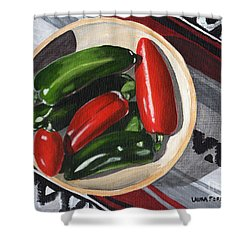 Red And Green Peppers Shower Curtain by Laura Forde