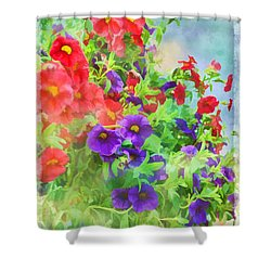Red And Purple Calibrachoa - Digital Paint I Shower Curtain by Debbie Portwood