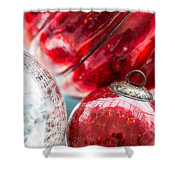 Red And Silver Ornaments Shower Curtain