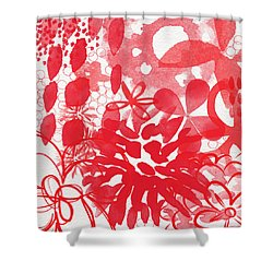 Red And White Bouquet- Abstract Floral Painting Shower Curtain by Linda Woods