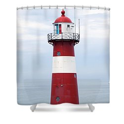 Red And White Lighthouse Shower Curtain by Peter Zoeller