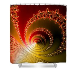 Red And Yellow Abstract Fractal Shower Curtain by Matthias Hauser