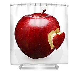 Red Apple With Heart Shower Curtain