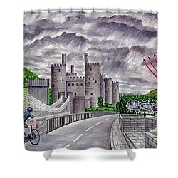 Red Arrows At 1000 Feet Over Conway Castle Shower Curtain by Ronald Haber