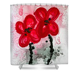 Red Asian Poppies Shower Curtain