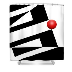 Red Ball 14 Shower Curtain by Mike McGlothlen