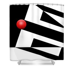 Red Ball 15 Shower Curtain by Mike McGlothlen
