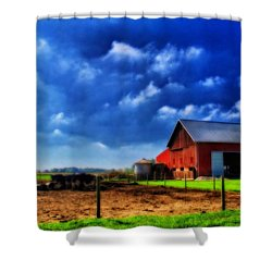 Red Barn And Cows In Ohio Shower Curtain by Dan Sproul