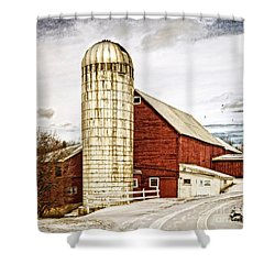 Red Barn And Silo Vermont Shower Curtain by Edward Fielding