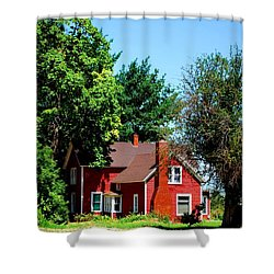 Red Barn And Trees Shower Curtain by Matt Harang